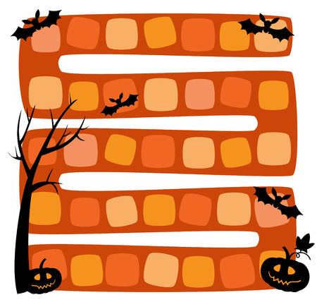 Vector illustration of halloween board game for children Ilustracja