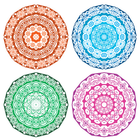Set with round lace ornaments isolated on white. Round ornament with many details, looks like crocheting handmade lace, lacy arabesque designs.  Illustration