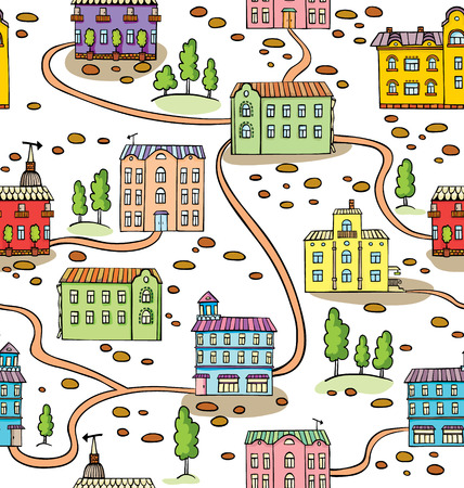 Vector seamless pattern with houses and trees. Panorama of cartoon town Stock Vector - 26008304
