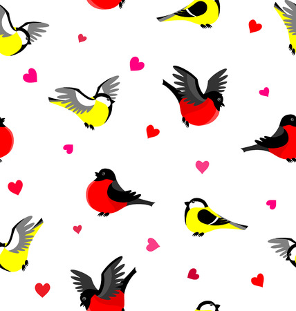 titmouse: Vector seamless pattern with bullfinches and tites. Winter background.