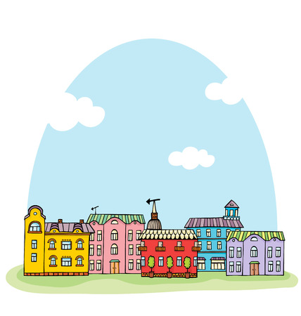 Panorama with cute town. Seamless vector pattern. Vector