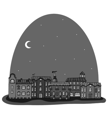 Newspaper night panorama with cute town. Seamless vector pattern.