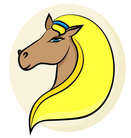 Vector line illustration of a blondy horse