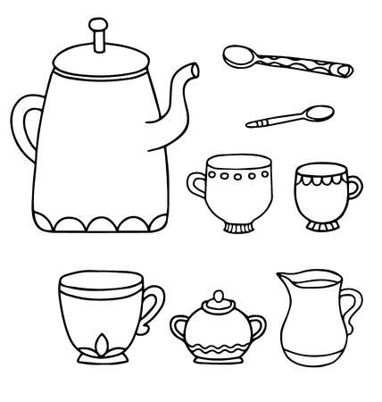 Set of isolated line drawing tea time supplies Vector