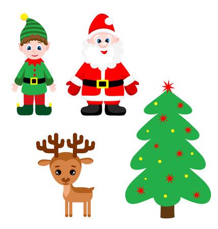 elf christmas: Conjunto de Pap� Noel, duende, �rbol de navidad lindo y renos. Ilustraci�n vectorial
