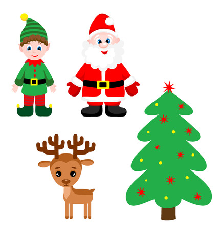 Set of cute santa claus, elf, christmas tree and reindeer. Vector illustration Vector