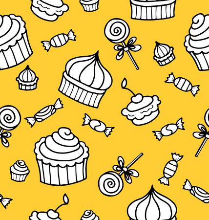 desktop wallpaper: Sin fisuras vector patr�n o la textura con dulces, magdalenas y piruletas dibujados a mano. Fondo con los dulces para fondo de escritorio, decoraci�n o sitio web el blog culinario.