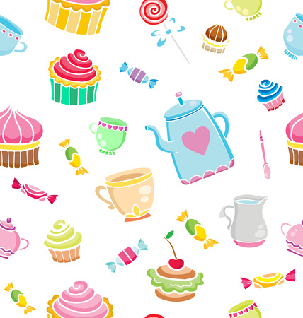 textille: Tea time seamless pattern for design. Sweet life. Vector illustration.
