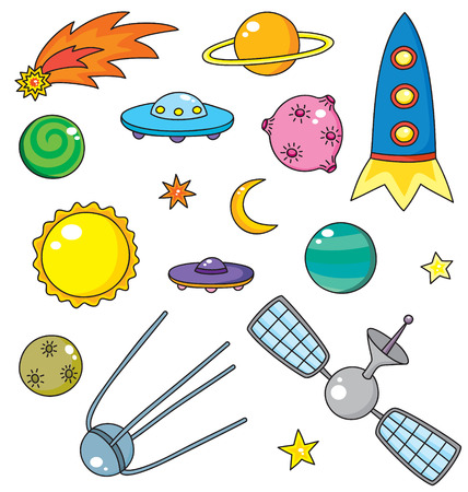 meteorite: collection of spaceship, planets and stars Illustration