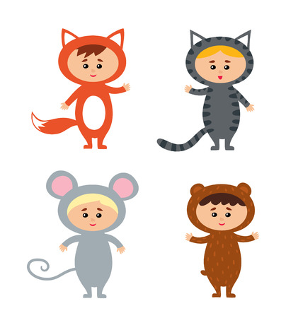Vector illustration of kids wearing animal costum cat fox mouse bear