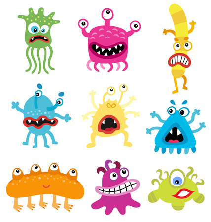 sic: Cartoon cute and funny monsters and bacterias.  Vector microbes isolated on white.