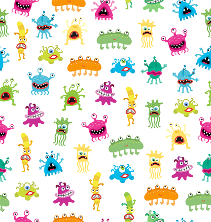 sic: Cartoon cute and funny monsters and bacterias.  Vector seamless pattern isolated on white.