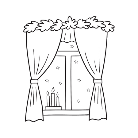 window view: Vector illustration of a Christmas window view with a stars and candles