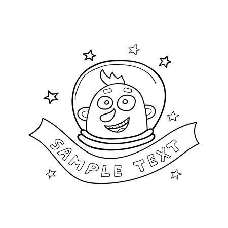 Vector illustration in doodle style. Astronaut and ribbon