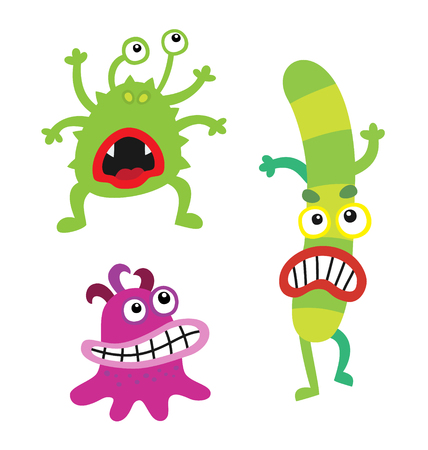 sic: Cartoon cute and funny monsters and bacterias. Vector microbes isolated on white. Illustration