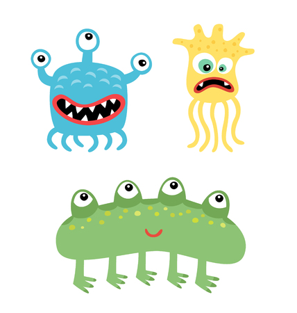 Cartoon cute and funny monsters and bacterias. Vector microbes isolated on white. Illustration