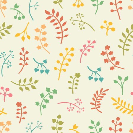 pattern: Vector floral seamless pattern with leaves and flowers.
