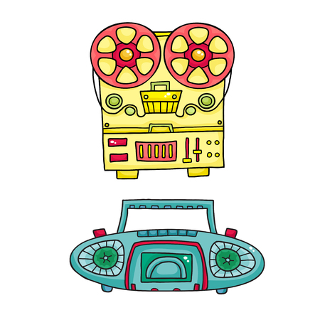 Retro musical equipment. A collection of stylish vector images o