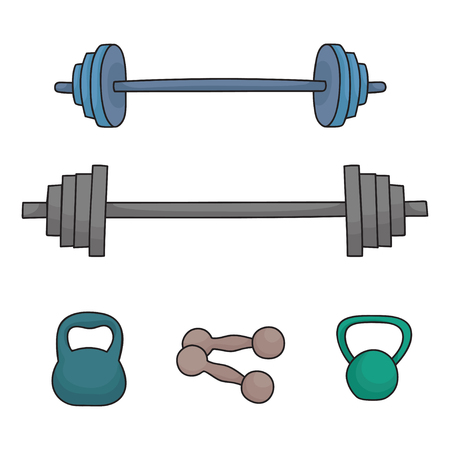 A set of simple dumbbells and barbells isolated on white Stock Photo