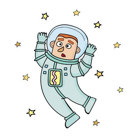 Cartoon astronaut. Vector illustration in doodle style.