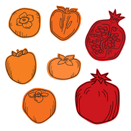 Natural organic pomegranate and persimmons for decorative poster