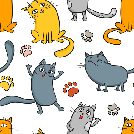 Vector cartoon seamless pattern with cute cats Illustration
