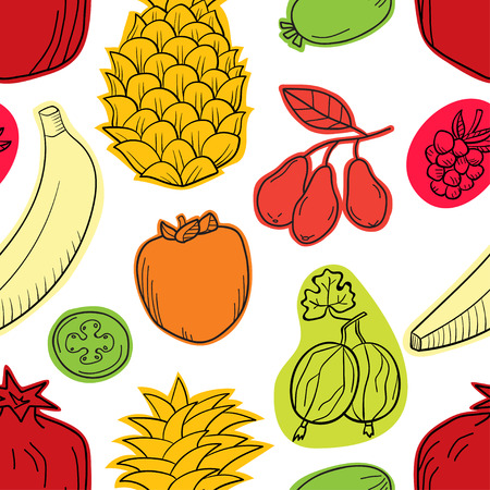 Colorful vector seamless pattern with fruits.