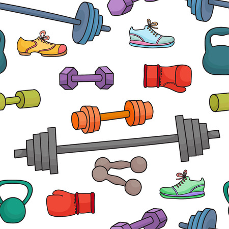 Sport equipment, healthy lifestyle elements. Seamless pattern