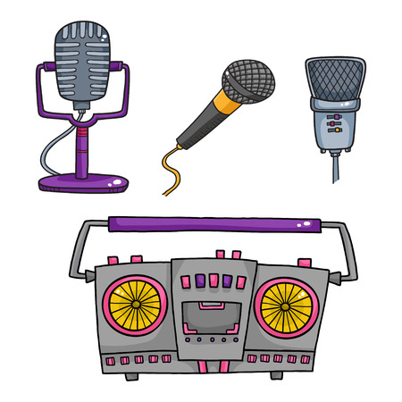 Musical equipment. Retro tape recorders and collection of microphone Illustration