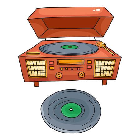Sketched gramophone talking machine. Vintage gramophone Illustration