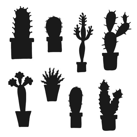 Vector lovely cartoon cacti and plants in pots