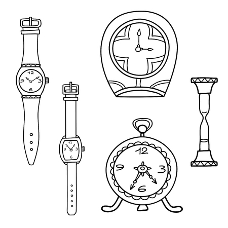Vector set of doodle hand drawn watches isolated on white. Illustration
