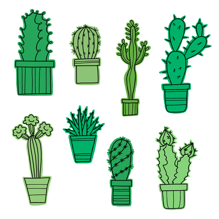 Vector lovely cartoon cacti and plants in pots, hand drawn flowers.