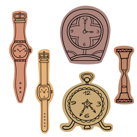 Vector set of doodle hand drawn watches.