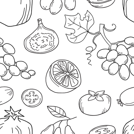 Monochrome vector seamless pattern with fruits.
