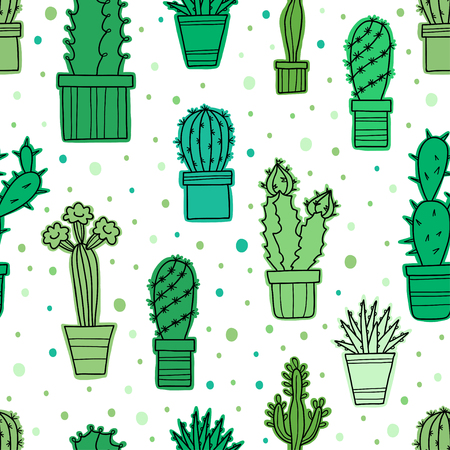 Vector seamless pattern of lovely green cacti and plants in pots Illustration