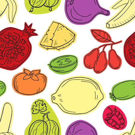 Colorful vector seamless pattern with fruits. Abstract healthy f