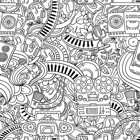 Decorative graphic curly floral musical seamless pattern, monochrome endless pattern Illustration