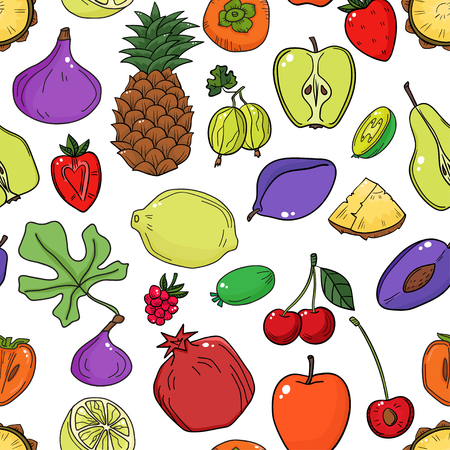 Colorful vector seamless pattern with fruits. Abstract healthy fruits