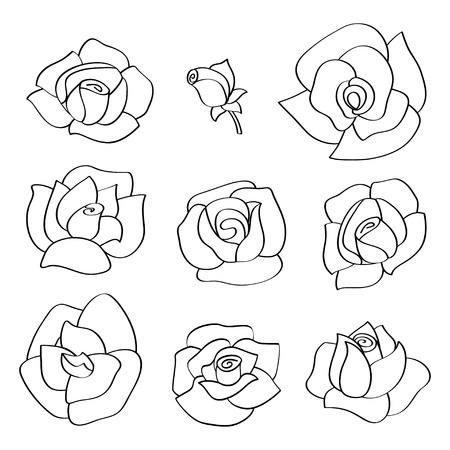 Vector set with line roses. Hand-drawn flowers with with contour Illustration