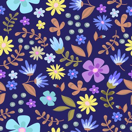 Floral seamless pattern. Cute retro flowers wreath Illustration