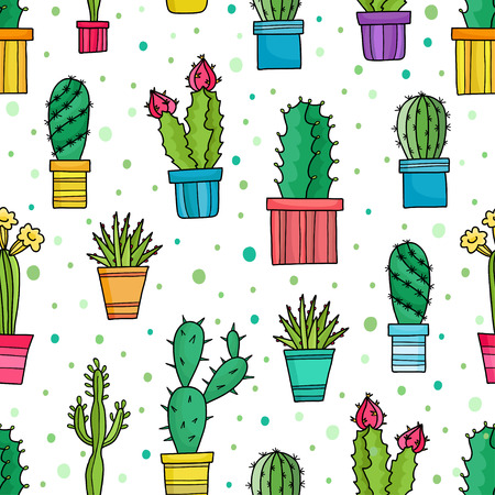 Vector seamless pattern of green cacti and plants in pots