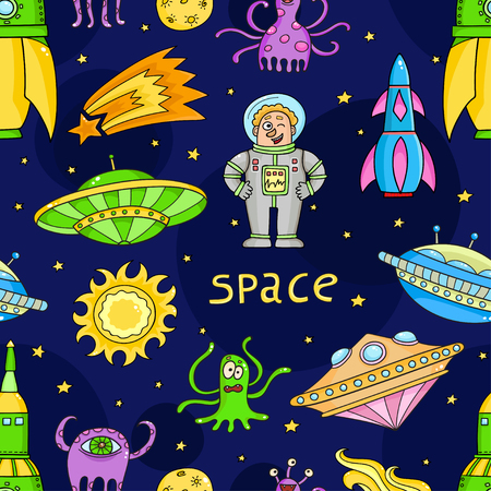 Seamless pattern with space objects - ufo, rockets, aliens. Illustration