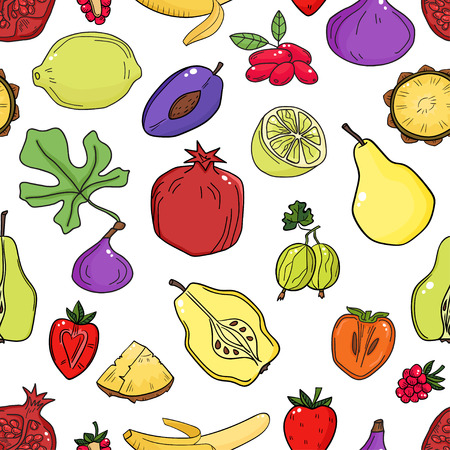 Colorful vector seamless pattern with fruits. Abstract healthy background