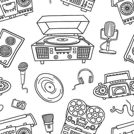 Decorative graphic musical seamless pattern, monochrome endless background
