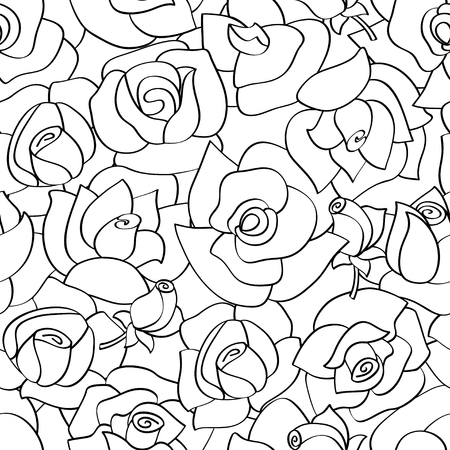 Vector seamless pattern with line roses. Hand-drawn flowers Illustration