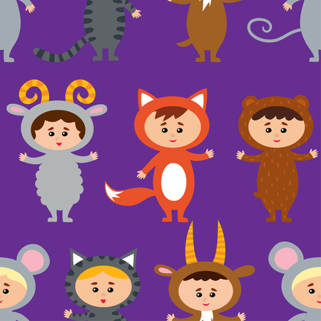 Seamless pattern with little kids in their animal costumes.