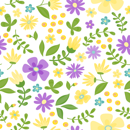 Floral seamless pattern. Cute retro flowers wreath perfect for wedding