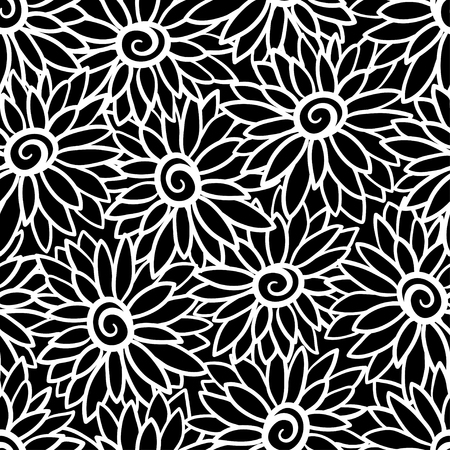 Floral background with stylized blooming chrysanthemum, asters.