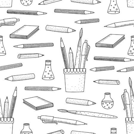 Cartoon vector doodles hand drawn school seamless pattern.